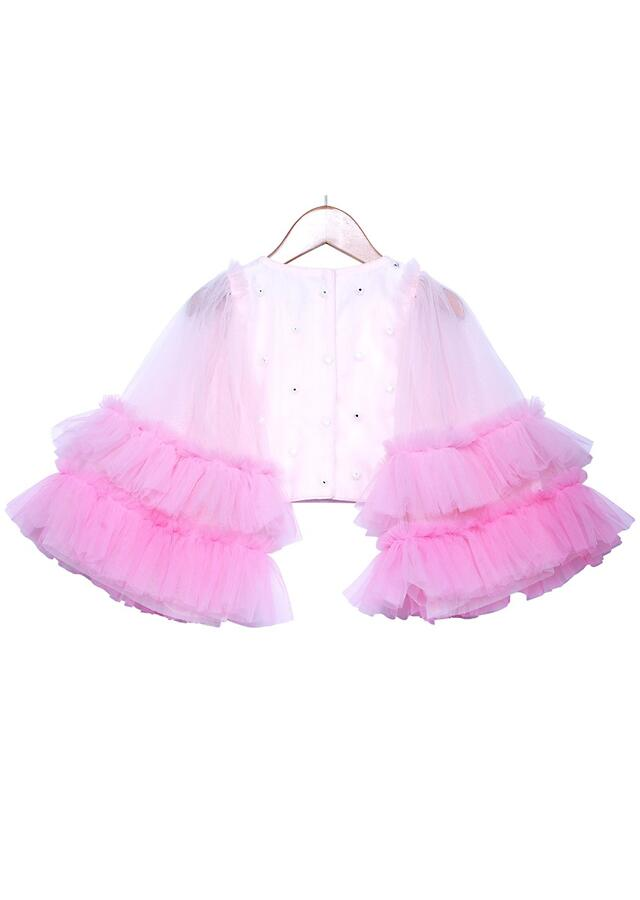 Pink Ombre Tiered Skirt Set With Ruffles And Bell Sleeves Crop Top Online - Free Sparrow