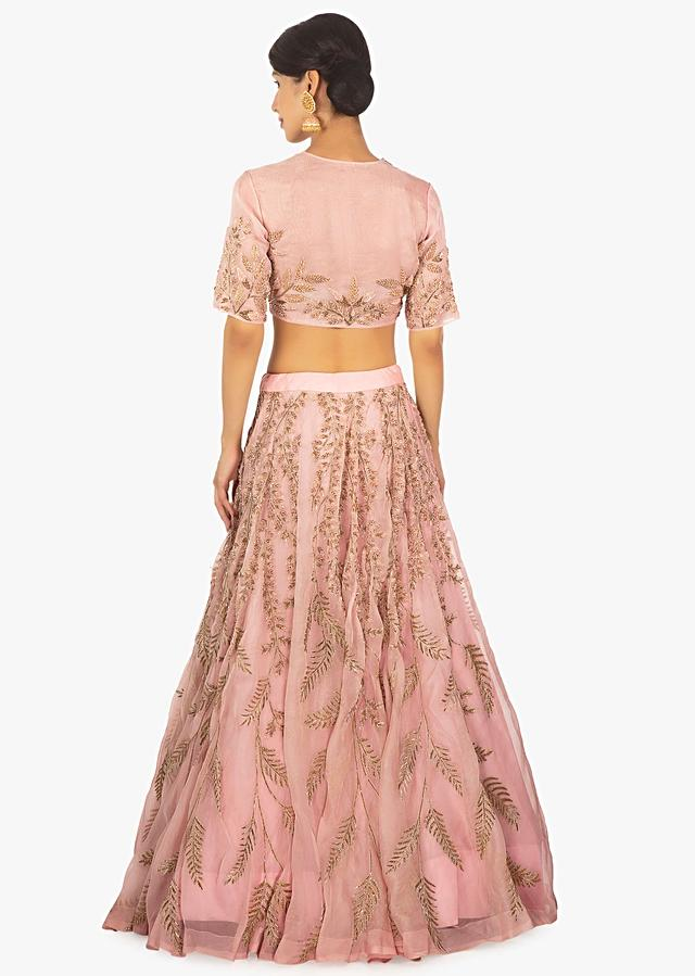 Pink Lehenga Set In Organza Densely Embellished In Cut Dana Work Online - Kalki Fashion