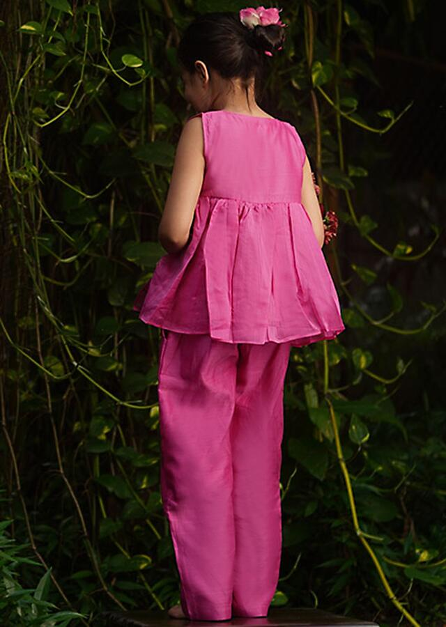 Pink Peplum Top And Straight Cut Pants In Hand Woven Cotton Silk With Red Selvedge Details By Love The World Today