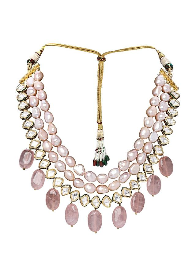 Pink Polki Necklace Set With Fresh Water Pearls And Dangling Rose Quartz Online - Joules By Radhika