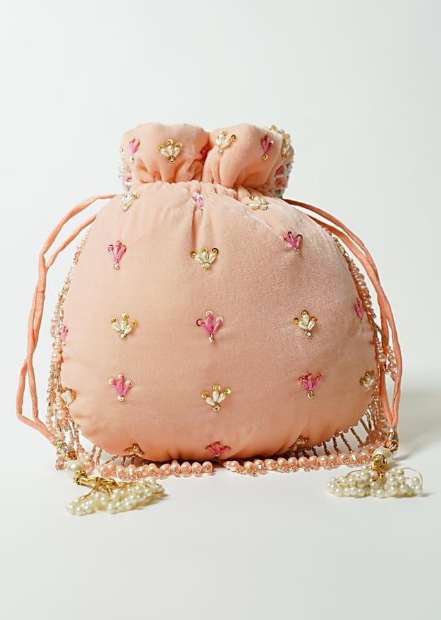 Peach Potli Bag In Velvet Adorned With Multicolored Thread And Beads Embroidered Scallop Design By Shubham