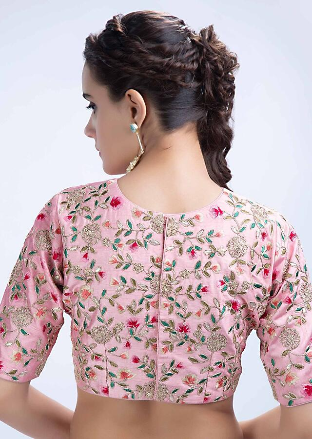 Pink raw silk blouse with floral jaal embroidery only on Kalki