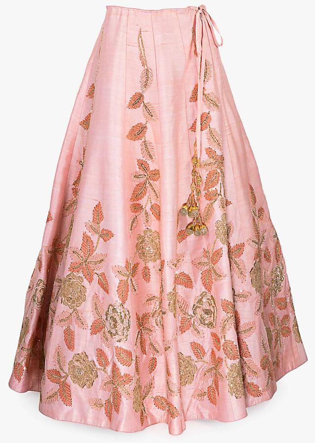 Pink Lehenga In Raw Silk Paired With Net Dupatta And An Unstitched Embroidered Blouse Online - Kalki Fashion