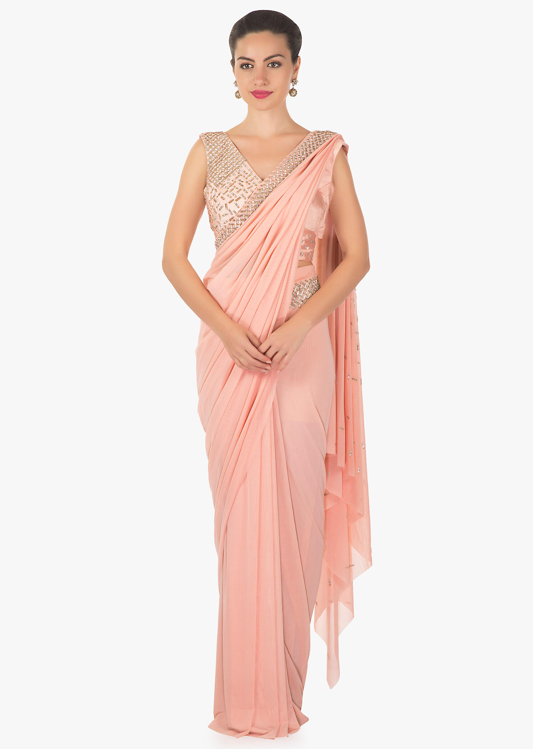 84b17eed28 Pink ready pleated saree in lycra net embellished in kundan work only on  Kalki