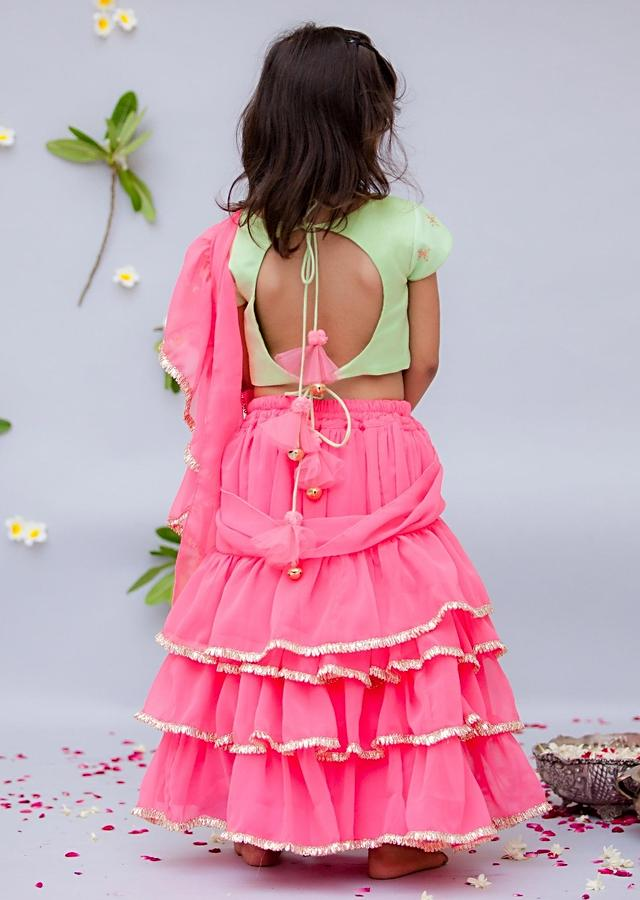 Pink Ready Stitched Saree With Ruffle Layers And Green Choli By Fayon Kids