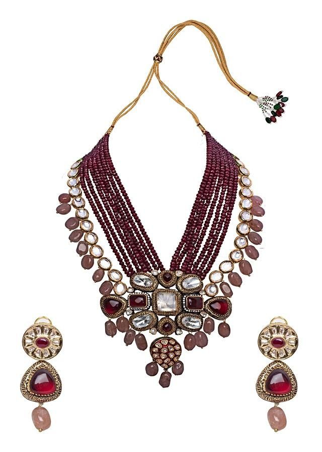 Pink Red Gold Tone Wedding Choker Necklace Set Joules By Radhika