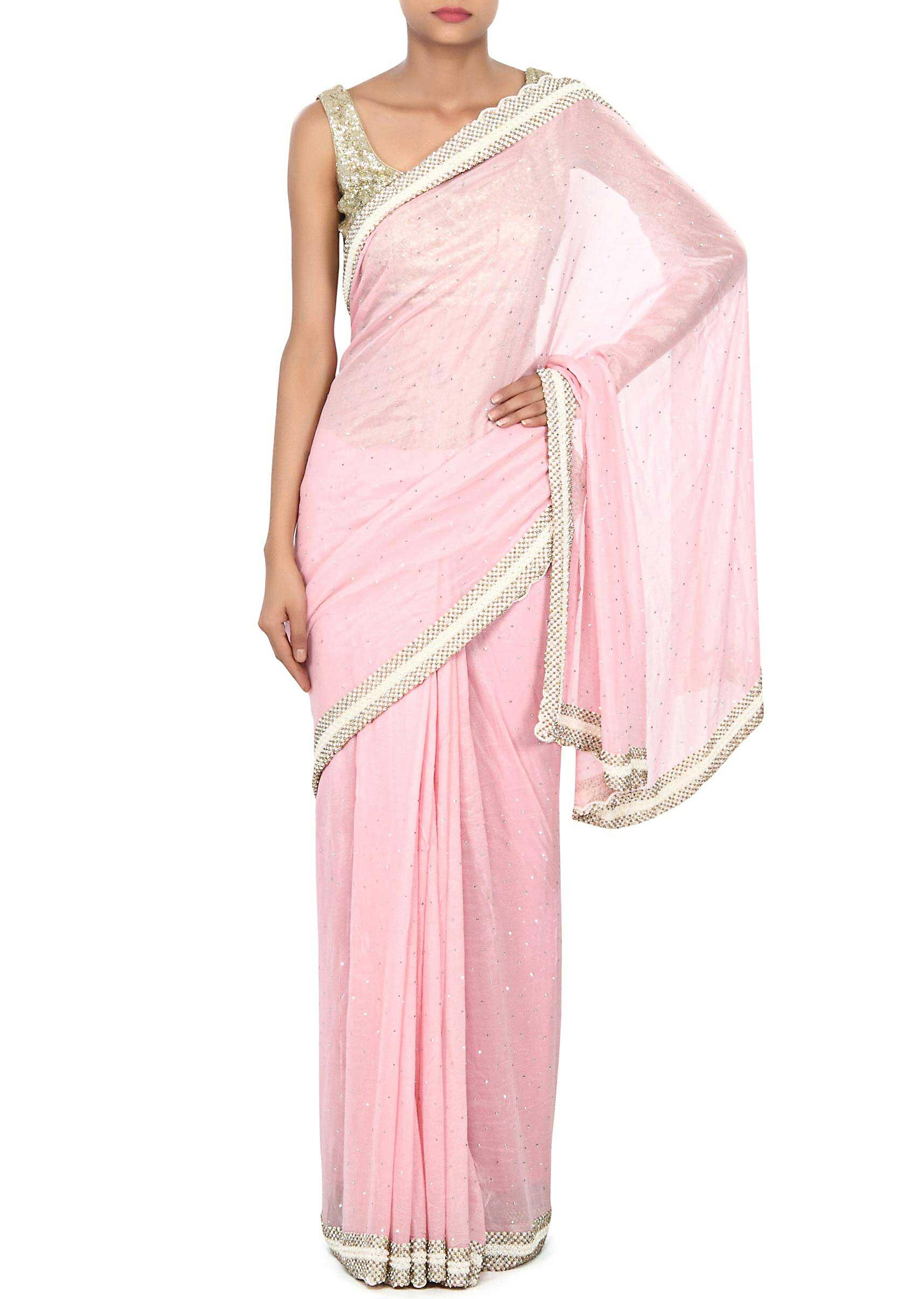 c563b45a5567a Pink saree adorn in pearl and kundan border only on KalkiMore Detail