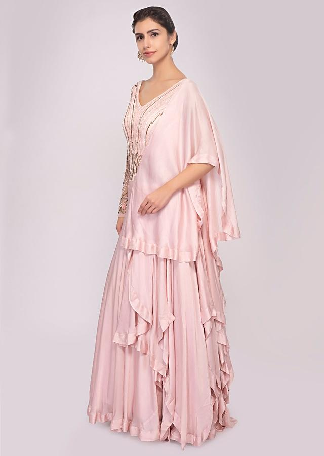 Pink Gown Satin And Net With Layers And Pre Attached Drape Online - Kalki Fashion