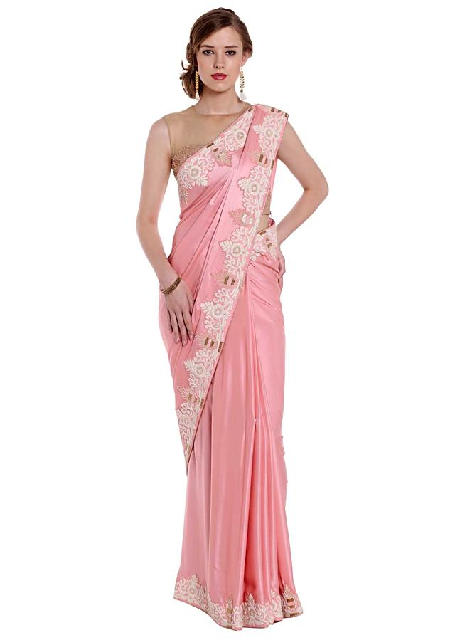 Pink Saree In Satin In Zardosi And French Knot Embroidery Online - Kalki Fashion