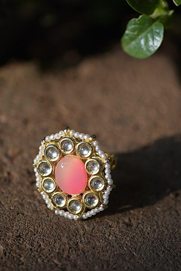 Pink Shaded Stone Ring With Kundan And Pearls In Floral Pattern Kohar By Kanika