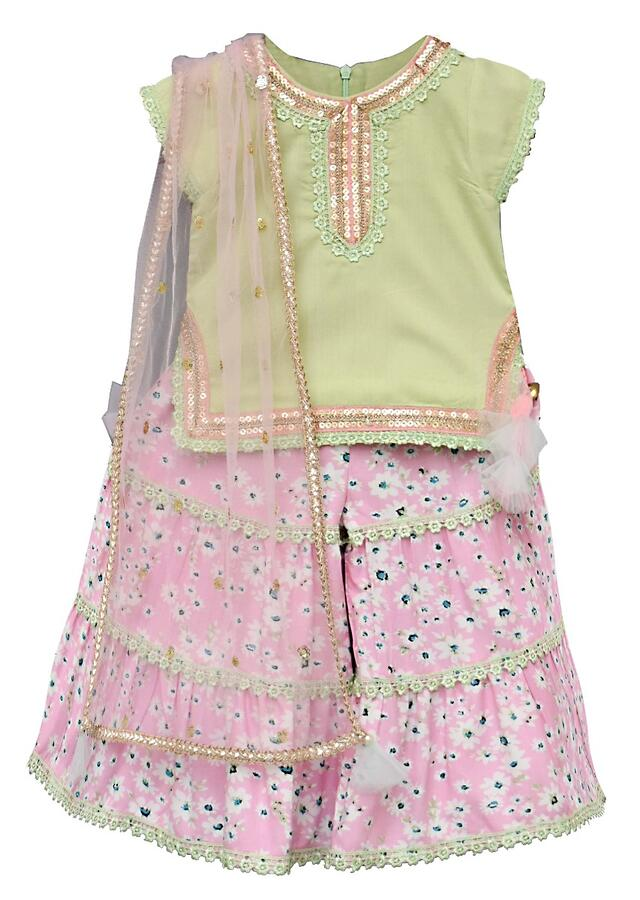 Pink Sharara Suit With Floral Print And Pista Green Kurta By Fayon Kids