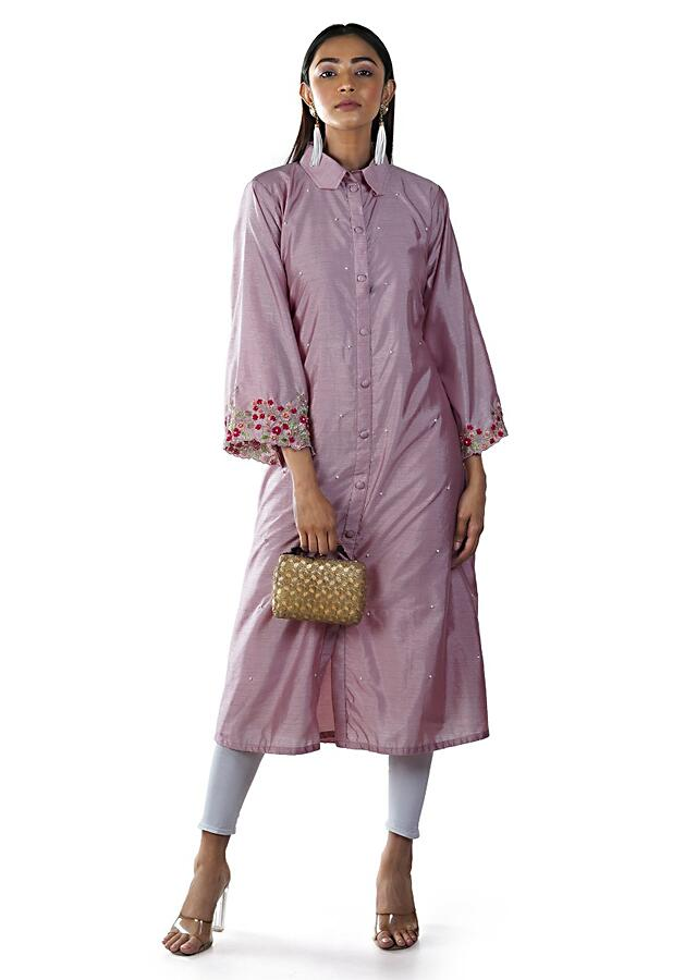 Pink Shirt Style Asymmetrical Tunic With Floral Embroidery And Bell Sleeves Online - Kalki Fashion