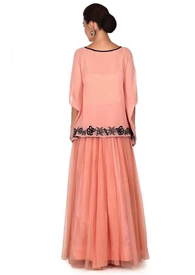 Pink Skirt With Fancy Cape Online - Kalki Fashion