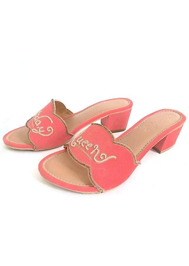 Pink Slider Heels With Fuchsia Pink Colored Birthday Queen Text And Scalloped Edge Online By Sole House