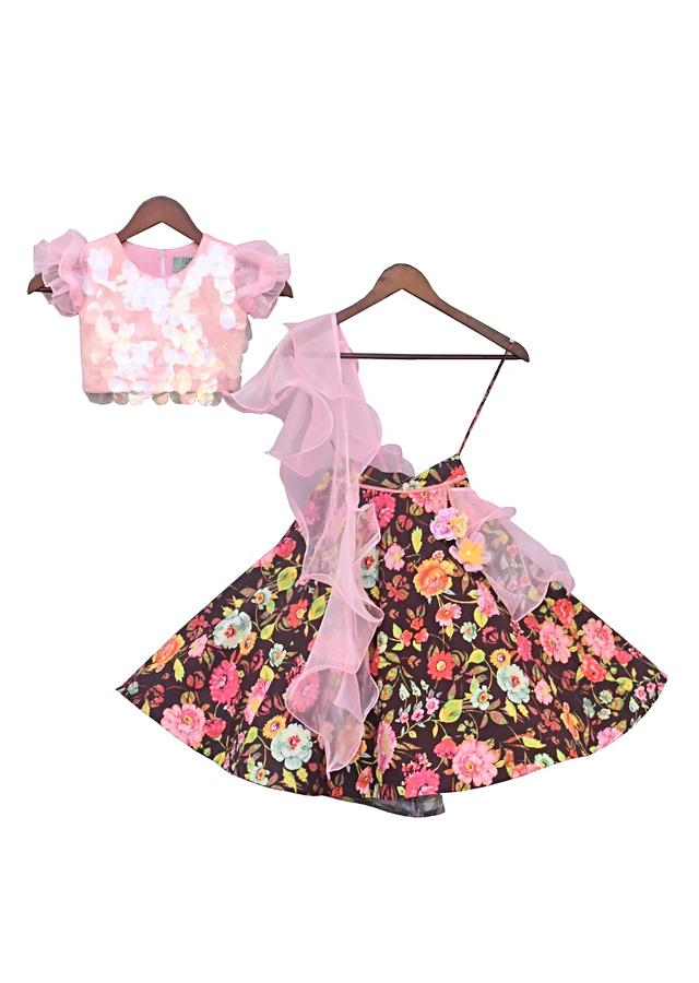 Pink Choli With Soft Sequins And Printed Lehenga And Frilled Dupatta by Fayon Kids