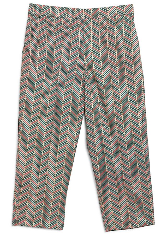 Pink Suit Set With Floral Printed Buttis And Chevron Printed TrousersBy Tiber Taber