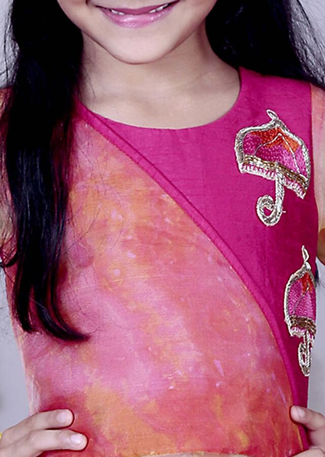 Pink Top With Full Sleeves And Embroidered Butti With Pink Dhoti Online - Kalki Fashion