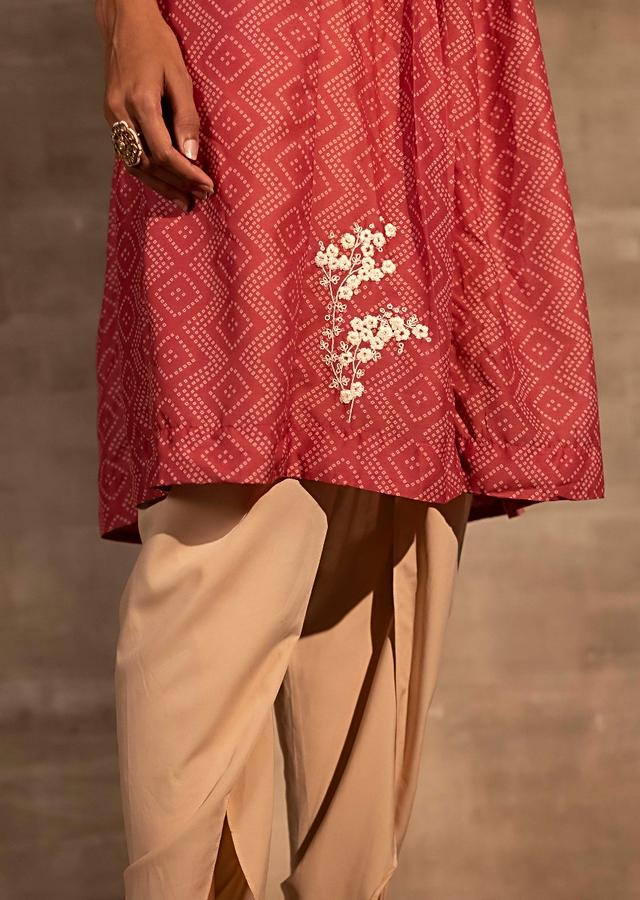 Pink Tunic In Muslin With Bandhani Print And Aari Thread Embroidered Floral Motifs Online - Kalki Fashion