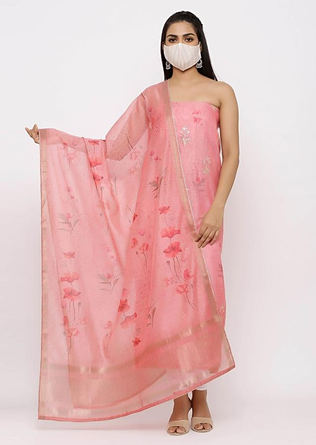 Pink Unstitched Suit With Self Print and Gotta Work Online - Kalki Fashion