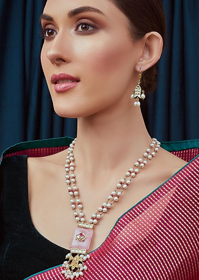 Pink And White Pearl Necklace Set With Agate Beads and Kundan Detailing Joules By Radhika