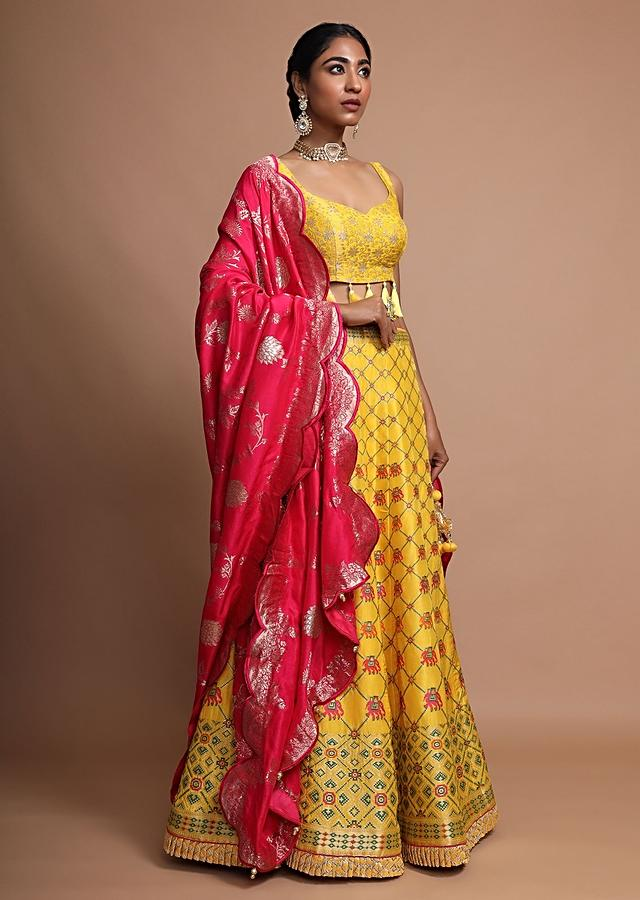 Pink Yellow Lehenga With Colorful Weaved Elephant And Geometric Motifs And Contrasting Banarasi Dupatta Online - Kalki Fashion