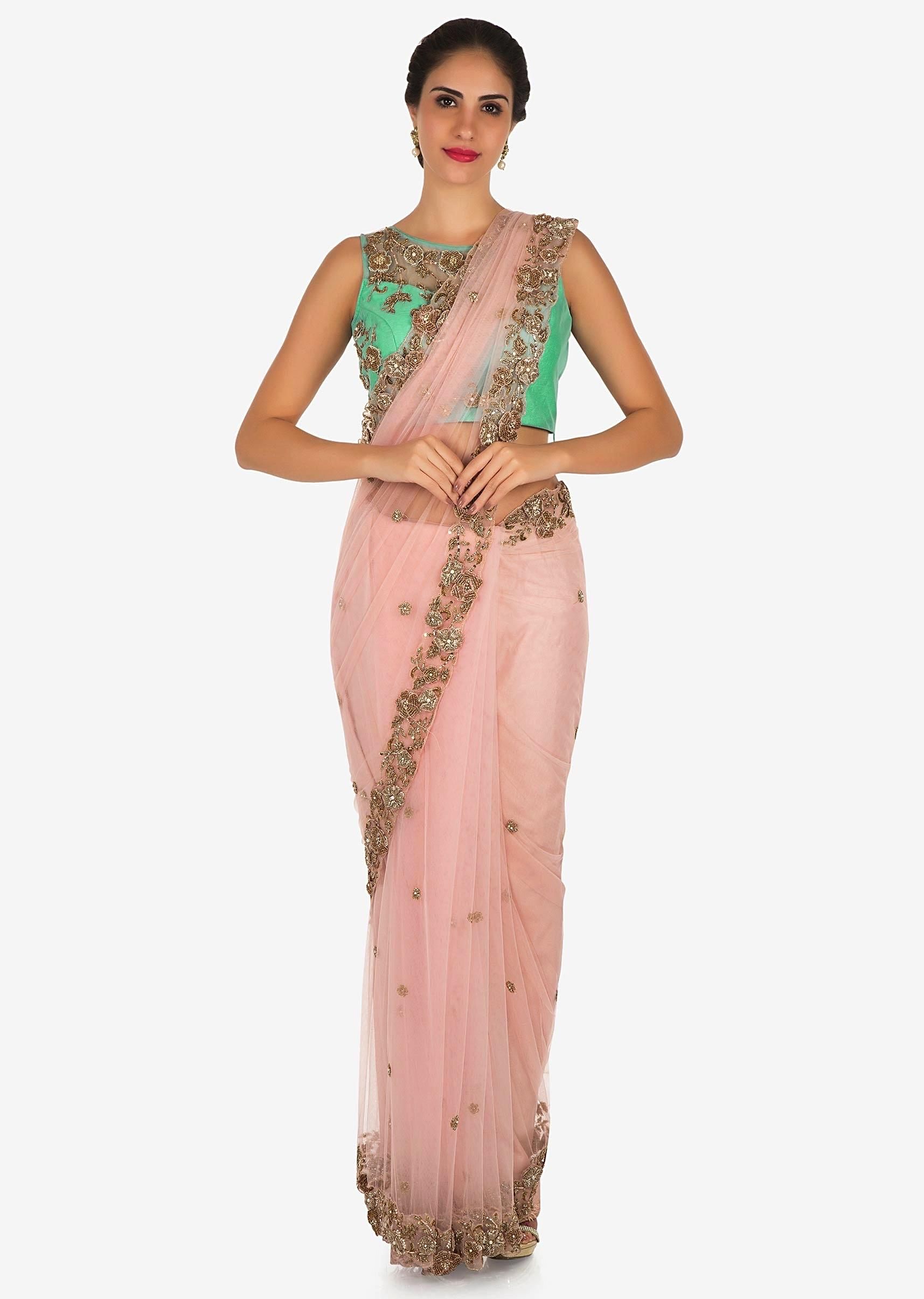 23b685e5884a0a Pink and mint blue saree in net featuring the zardosi and 3D flower  embroidery work only on KalkiMore Detail