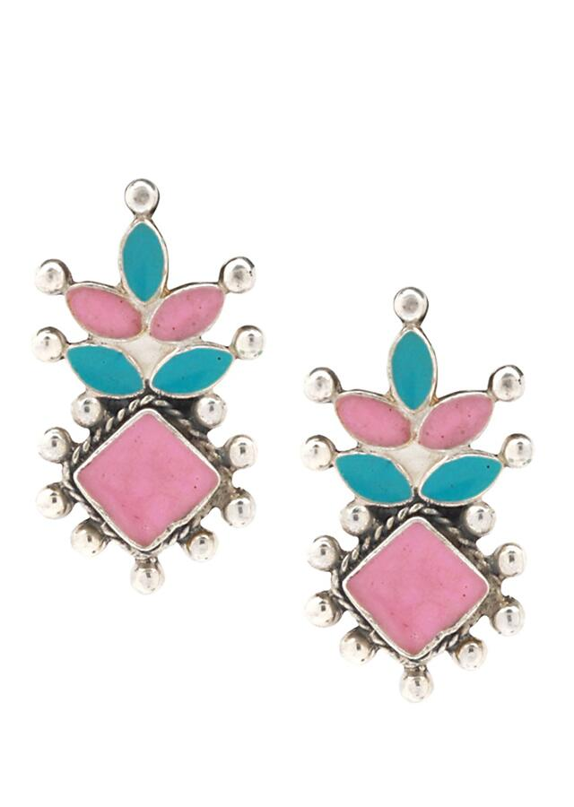 Pink And Turquoise Studs With Beads In Modern Pattern Made In Sterling Silver By Sangeeta Boochra