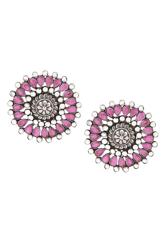 Pink And White Gemstone Studs In Hand Crafted Floral Design  Made In Sterling Silver By Sangeeta Boochra