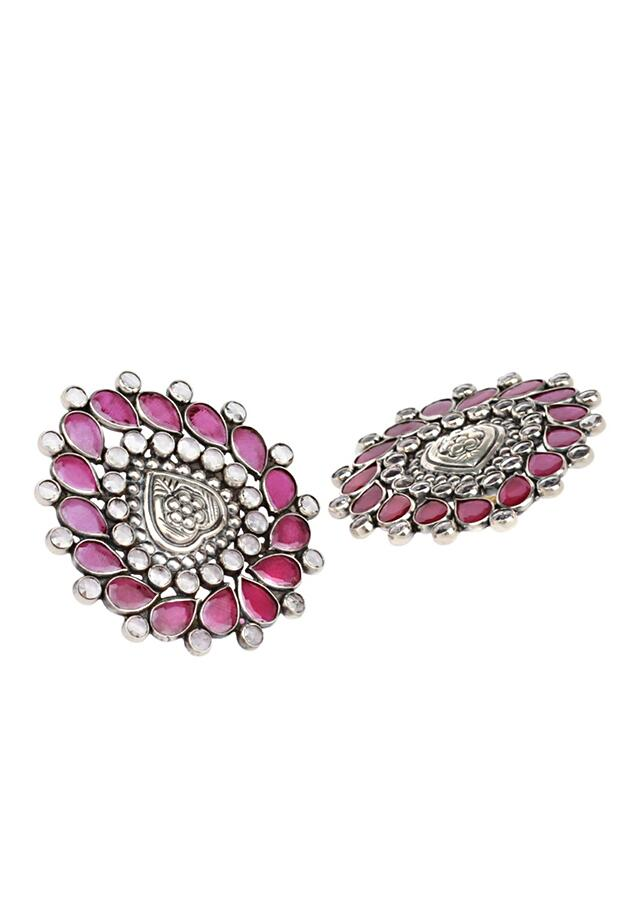 Pink And White Gemstone Studs In Hand Crafted Leaf Design  Made In Sterling Silver By Sangeeta Boochra