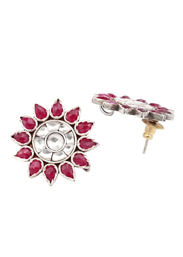 Pink And White Gemstone Studs In Handmade Floral Pattern Made In Sterling Silver By Sangeeta Boochra