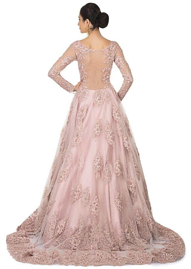 Pink Gown With Centre Frills And Embroidery Online - Kalki Fashion