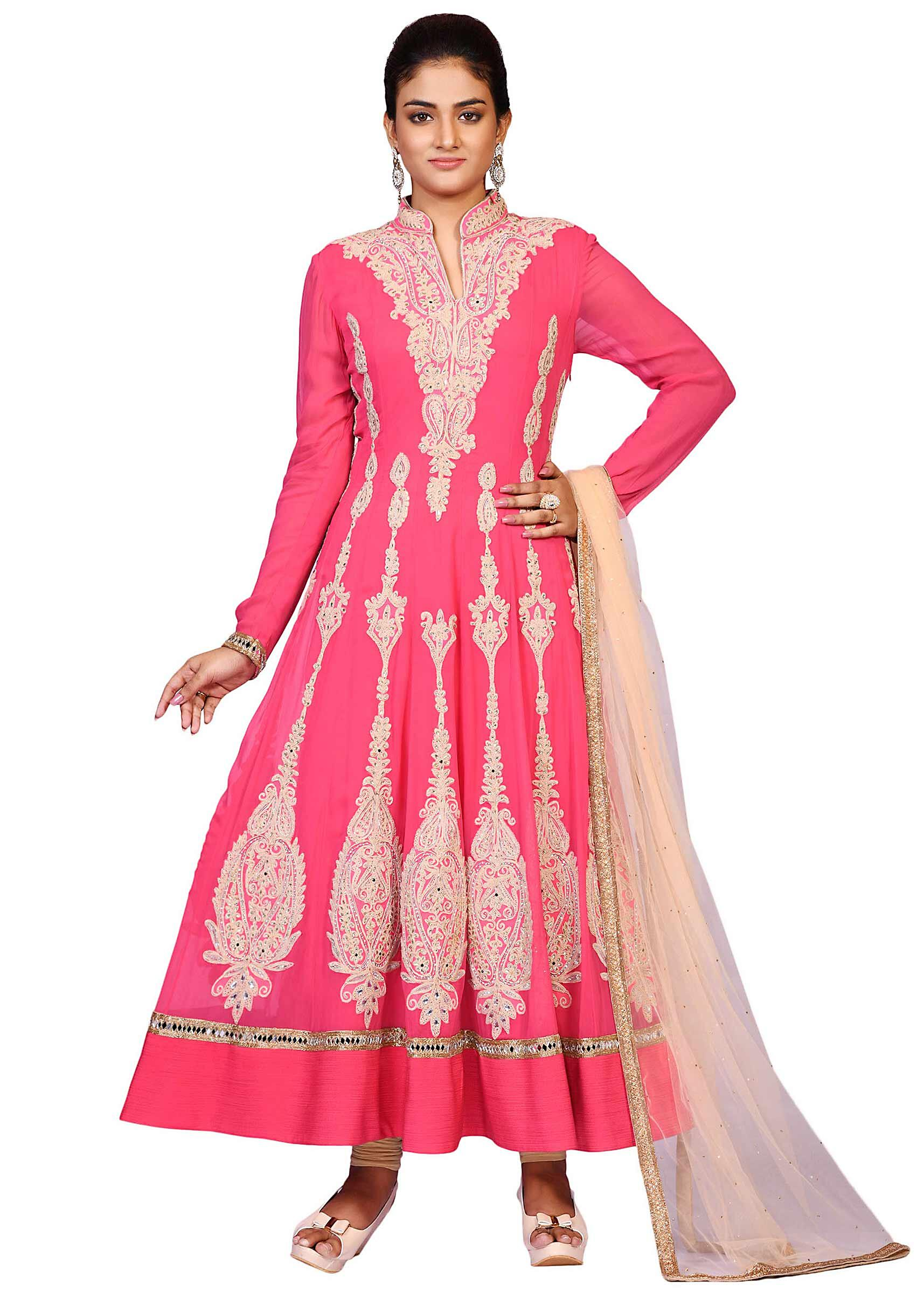 1d8b939807 Pink coral dori suit in georgette embellished in zari embroidery only at  KalkiMore Detail