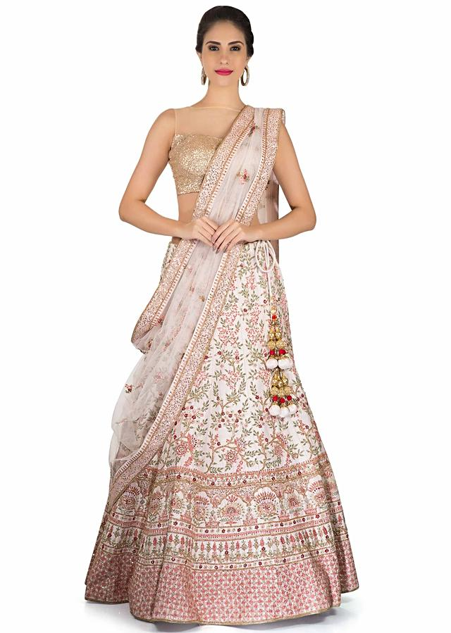 Pink Cream Lehenga Adorn In Floral Embroidered Jaal Online - Kalki Fashion
