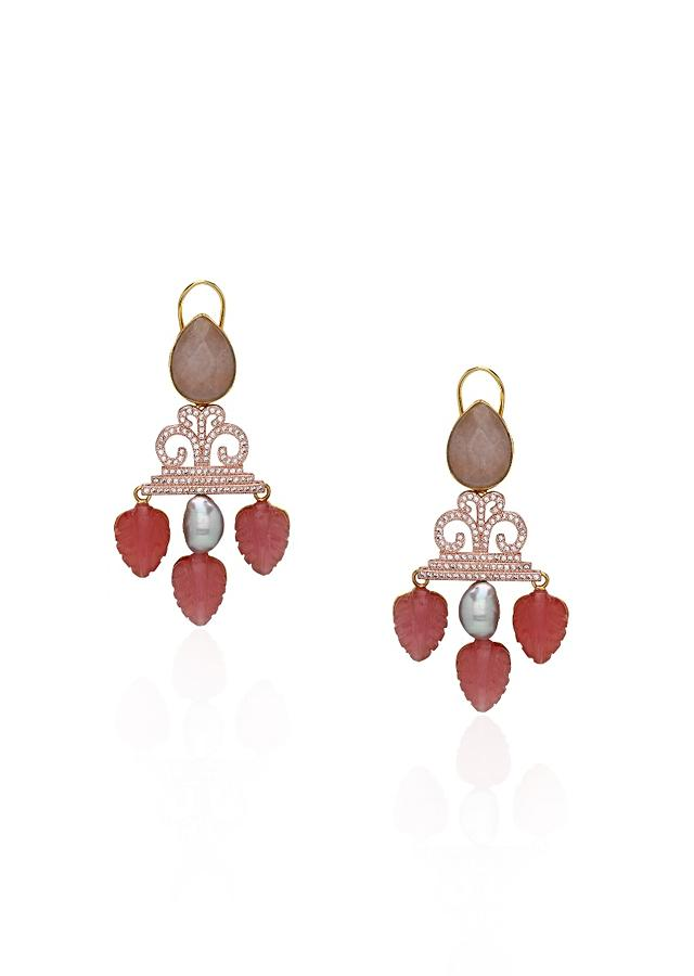 Pink Earrings With Agates, Quartz Leaves, Grey Fresh Water Pearls And Swarovski  Online - Joules By Radhika