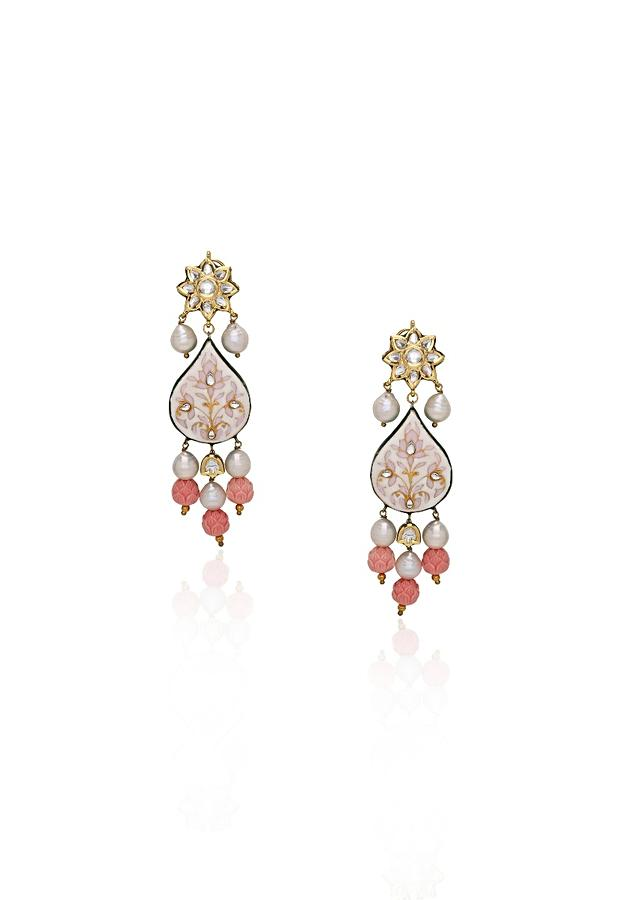 Pink Earrings With Polki, Meenakari, Coral Beads And Dainty Baroque Pearls Online - Joules By Radhika