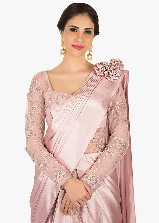 Pink Gown In Embroidered Net With Beautiful Cowl Drape Online - Kalki Fashion