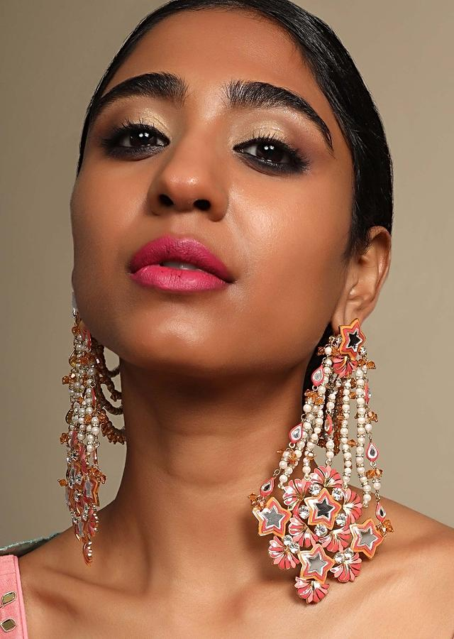 Pink Ethnic Earrings In Floral Motif With Kundan Work And Moti Strings By Prerto