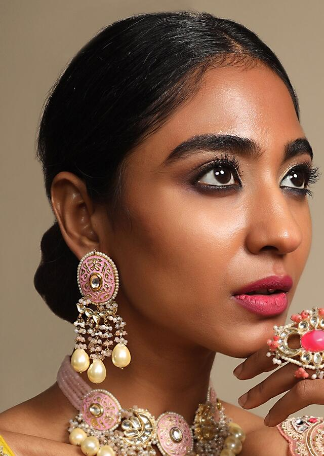 Pink Ethnic Earrings With Enamel Work And Dangling Moti And Beads Fringes Online By Koha