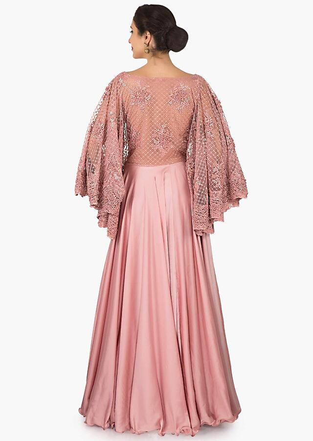 Pink Gown In Satin With Bell Sleeves Embroidered In Moti And Cord Work Online - Kalki Fashion