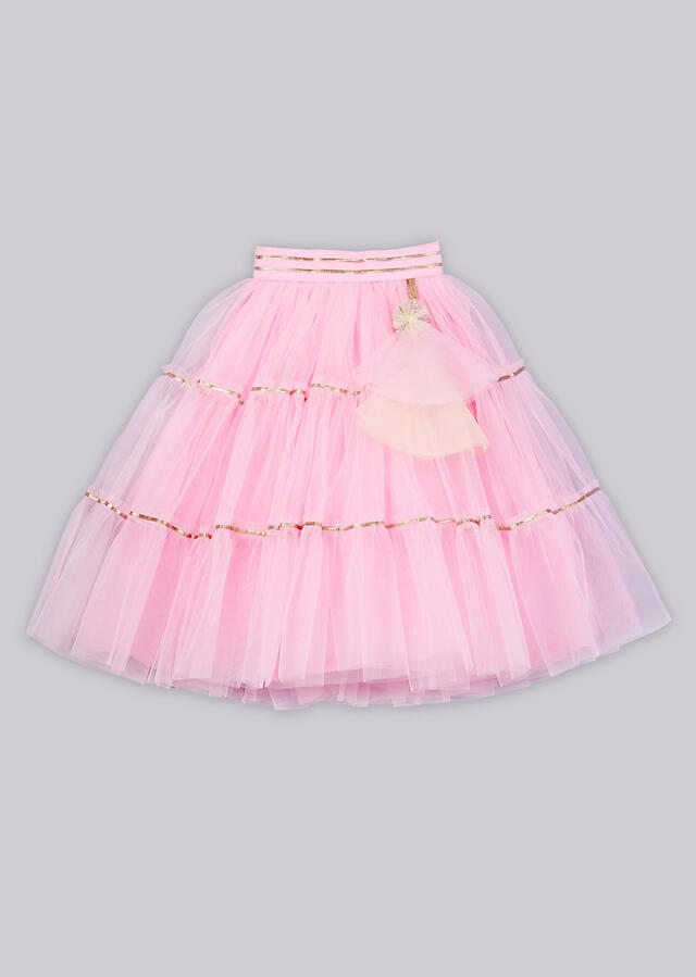Pink net lehenga with fancy gotta embroidered top with statement sleeves Online - Free Sparrow