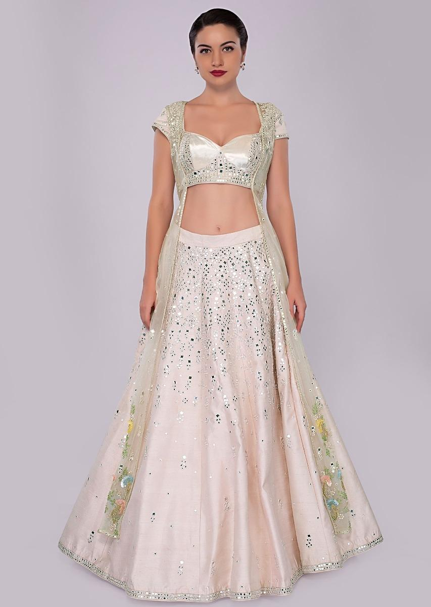 6eda55580 Pink Lehenga Set In Raw Silk With Resham And Abla Work Paired With Long Net  Jacket Online - Kalki Fashion