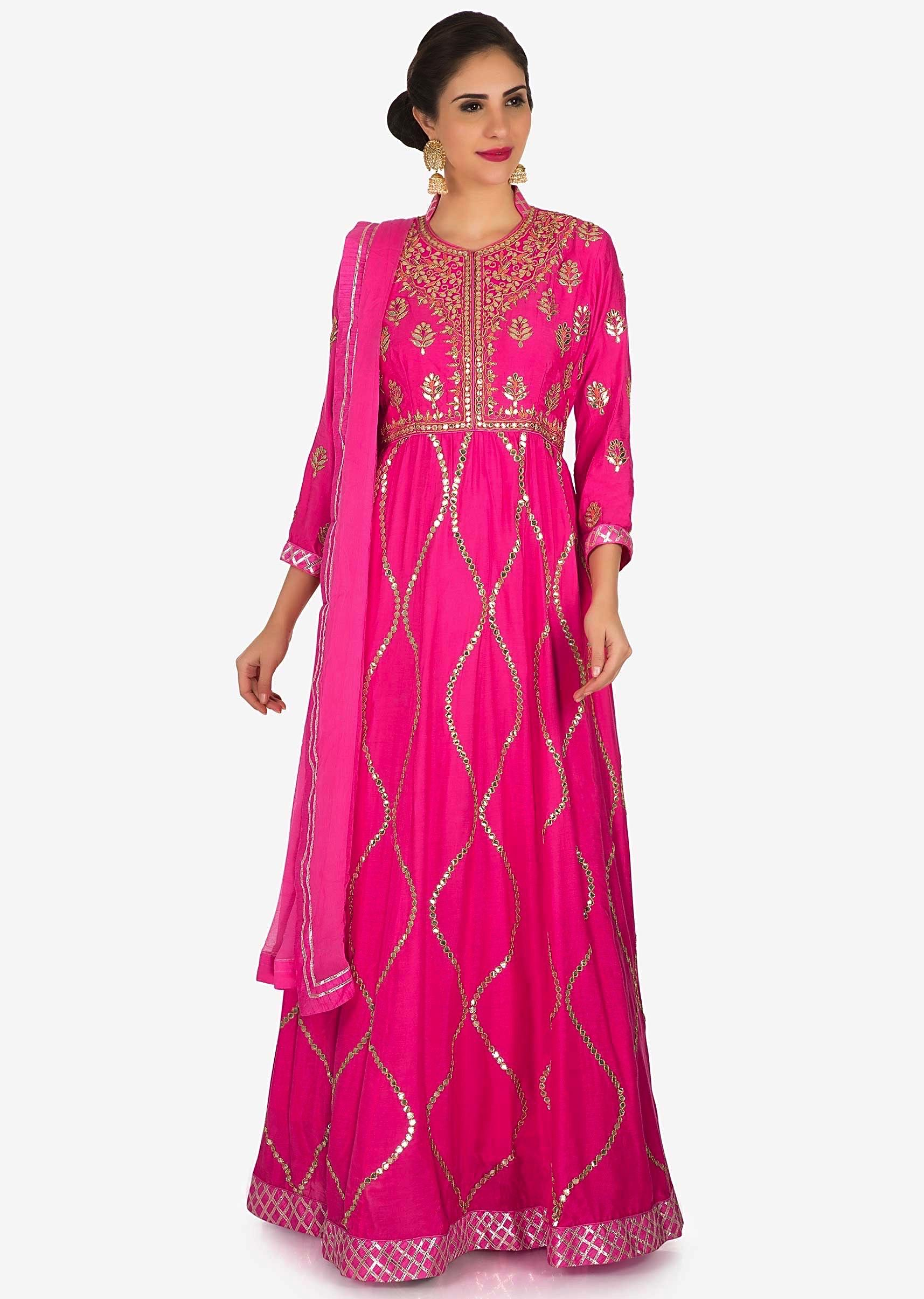 e22724f84c0ff1 Pink suit in cotton featuring the heavy gota-patti embroidered work only on  KalkiMore Detail