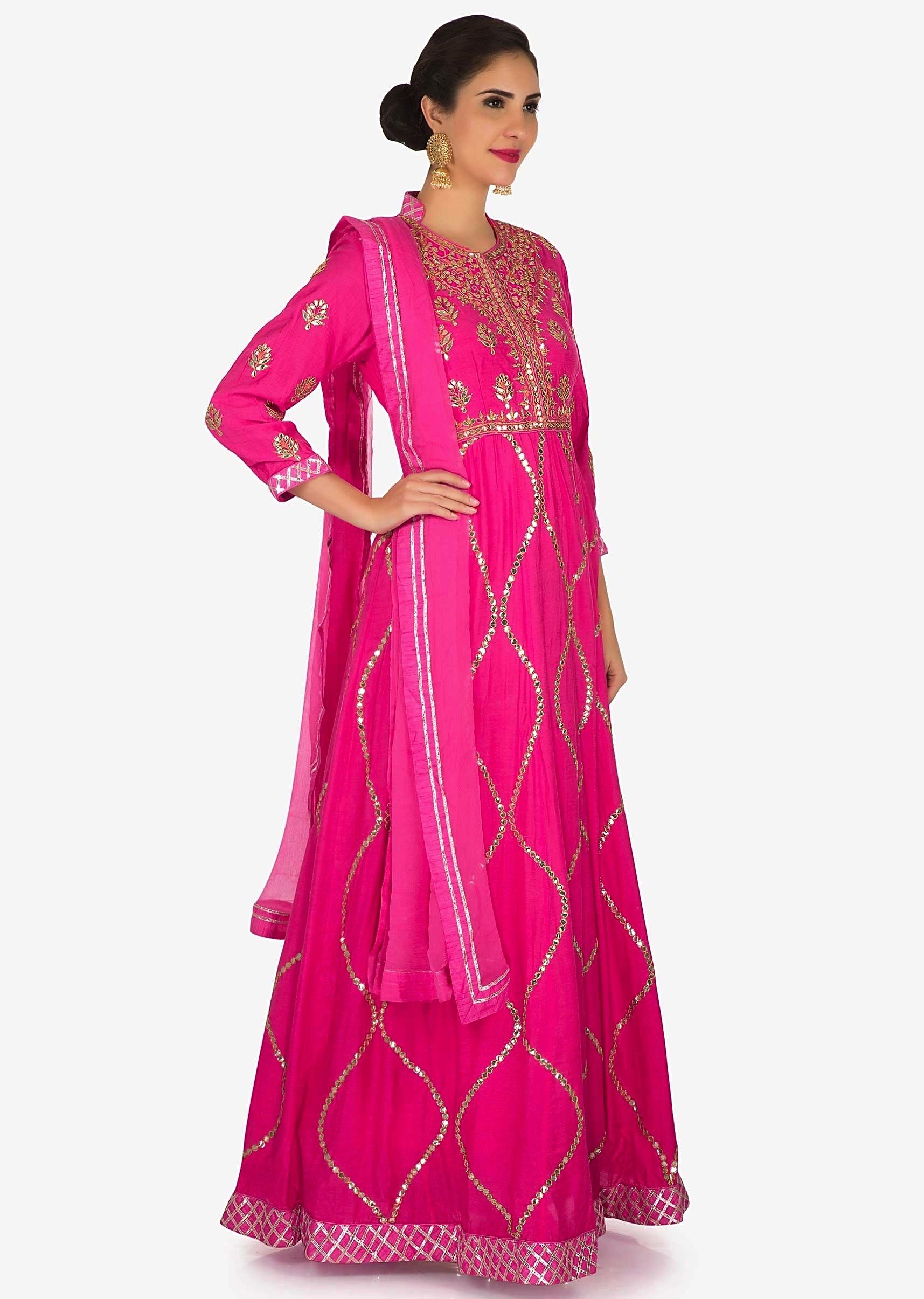 8d386253c2ea5d Pink suit in cotton featuring the heavy gota-patti embroidered work only on  Kalki