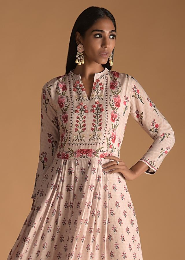 Pinkish Peach Cotton Silk Tunic With Floral Print And French Knots On The Bodice Online - Kalki Fashion