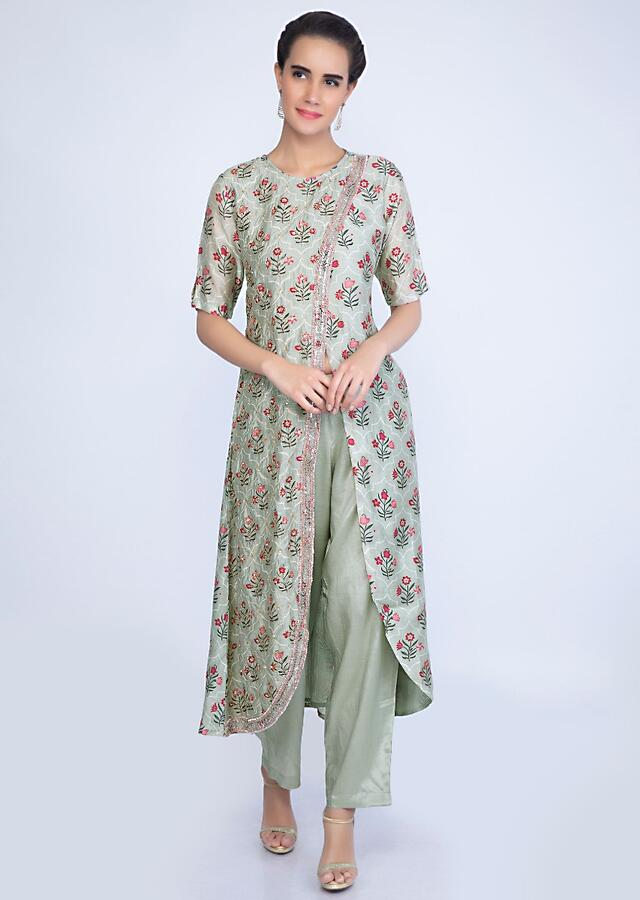 Pista Green Aangrakha Style Printed Suit With Matching Straight Pant Online - Kalki Fashion