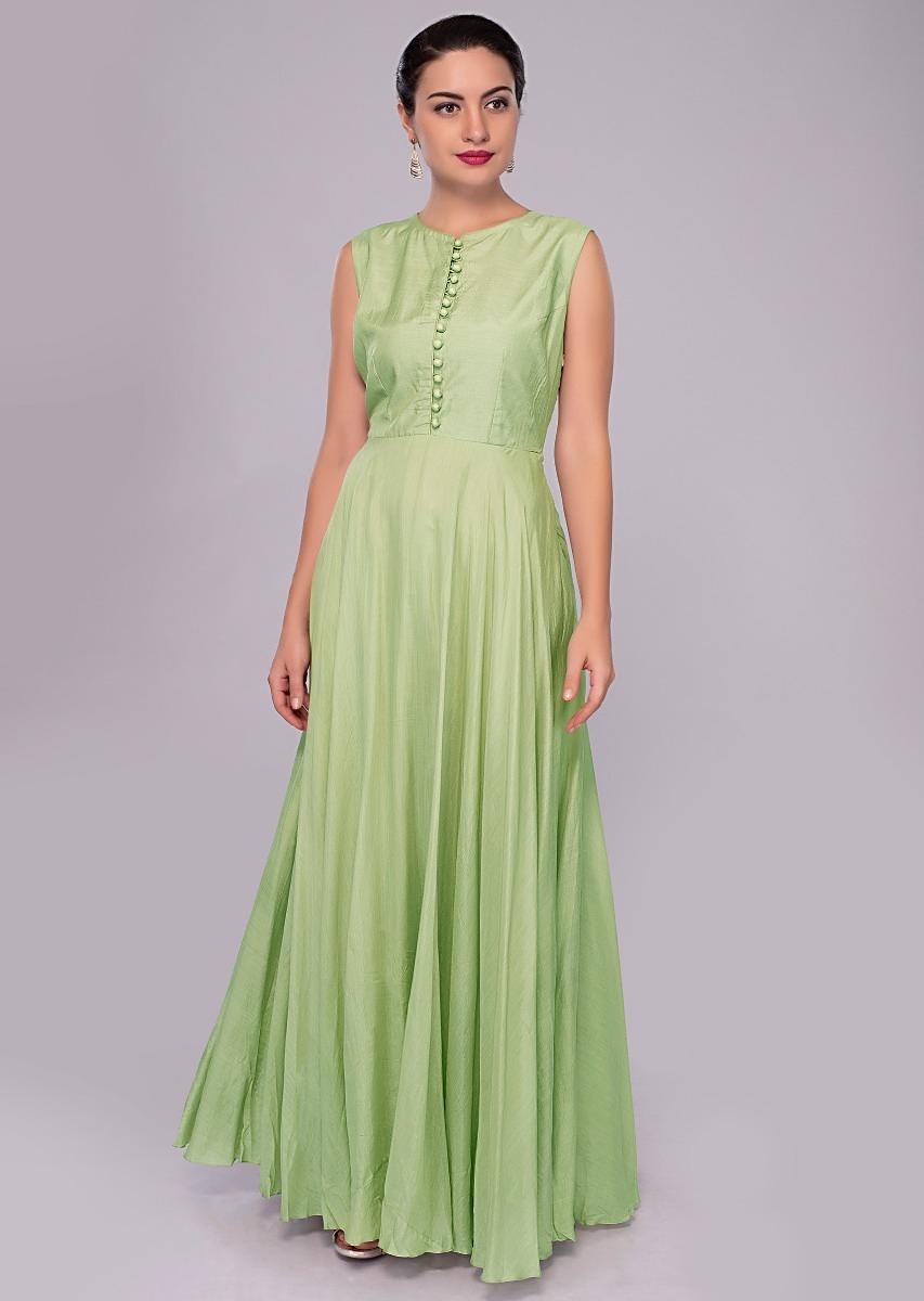d1a3c76927 Pista green anarkali dress with embroidered jacket in gathers and front tie  up only on KalkiMore Detail