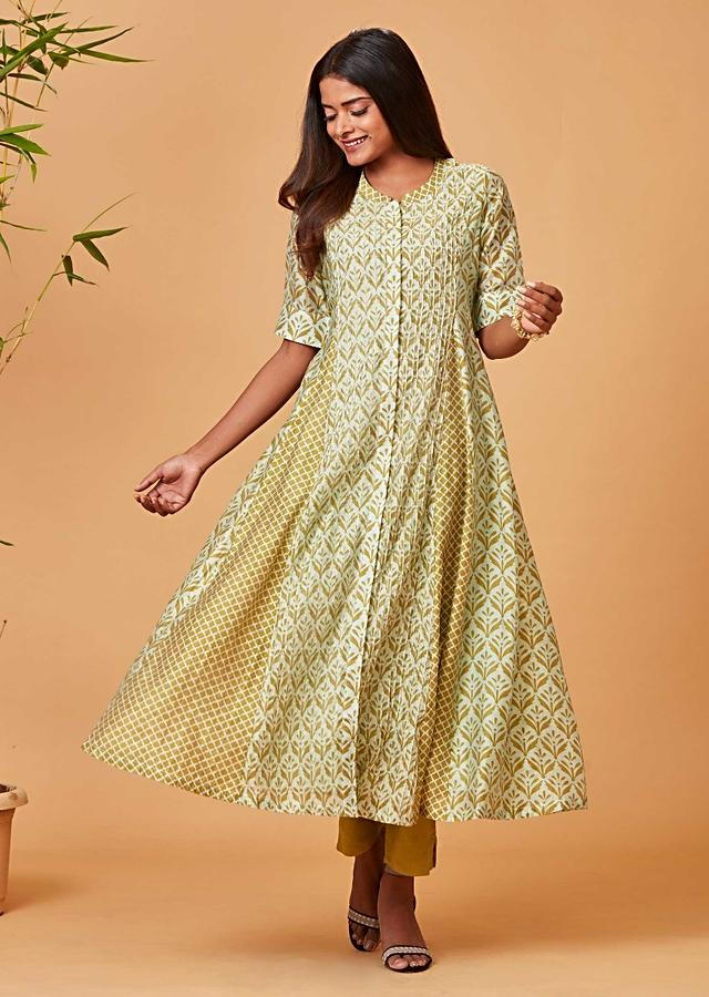 Pista Green Anarkali Suit With Printed Floral Buttis And Moroccan Motifs Online - Kalki Fashion