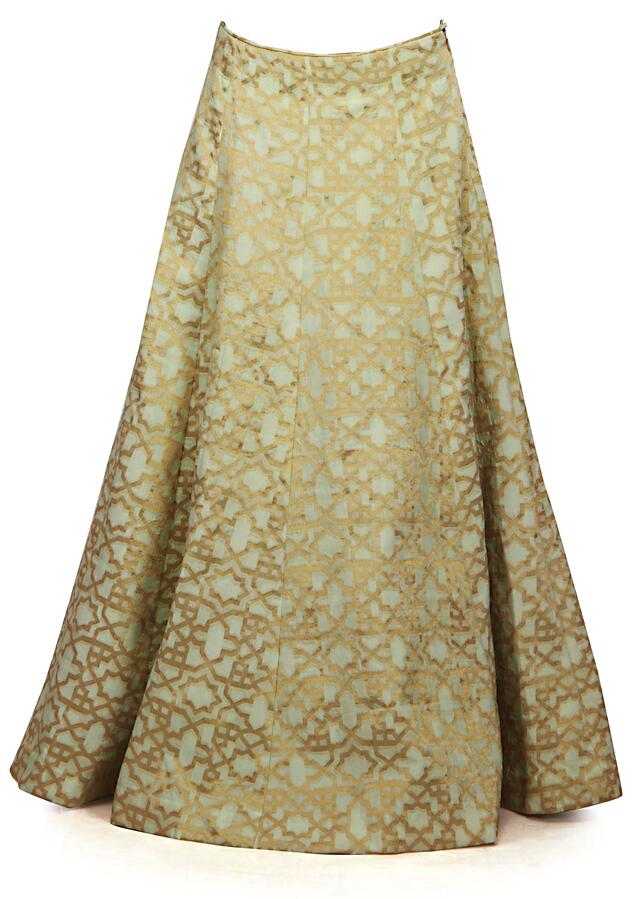 Pista green and peach lehenga Choli with weaved dupatta only on Kalki