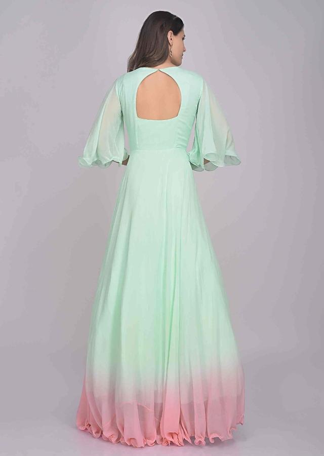Pista green and pink floral embroidered georgette gown only on Kalki