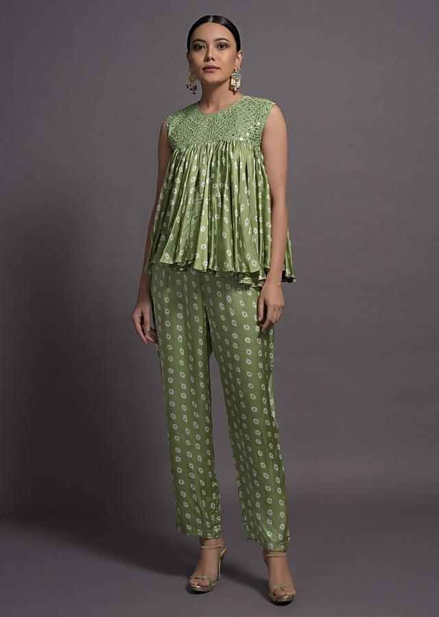 Pista Green Bandhani Printed Flared Top With Matching Palazzo Online Kalki Fashion